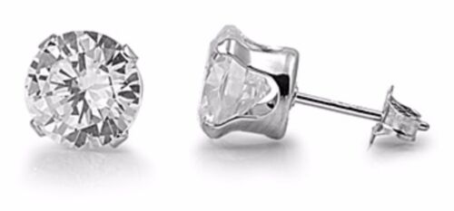 925 Sterling Silver 5mm Solid Round Brilliant Cut Cubic Zirconia Stud Earrings