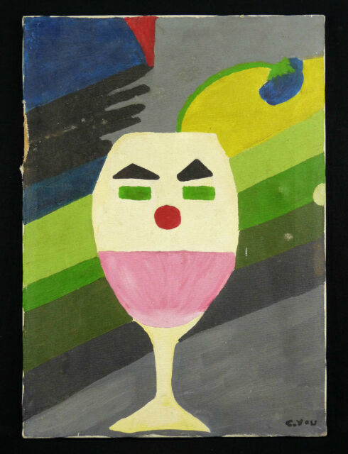 Art modern glass wine wine glass Oil on canvas signed at the bottom right YOU