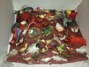 Vintage-Lot-Mercury-Glass-Clip-On-Bird-Christmas-Ornaments-Some-Feather-Tails