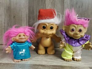 Vintage-Lot-of-3-Troll-Dolls-6-034-7-034-and-4-5-034-Russ-Dam-1986
