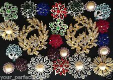 24 pcs Lot Mixed Vintage Style Rhineston Crystal Button Brooch Pin DIY Bouquet