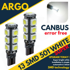 2X-MITSUBISHI-L200-05-ON-BRIGHT-CANBUS-LED-SIDE-LIGHT-501-W5W-13-SMD-WHITE-BULBS