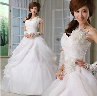 FORMAL WHITE Strapless Sweetheart Ball Gown Wedding Dresses Bridal Dresses S-XL