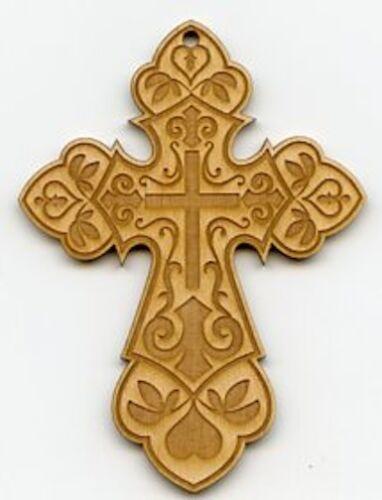 Baltic Birch Wood Cross Ornament ~ Laser Cut /& Etched