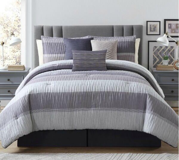 Beautiful Mauve lila Stripes Ruffle Comforter 7 pcs King Queen Bedding Set