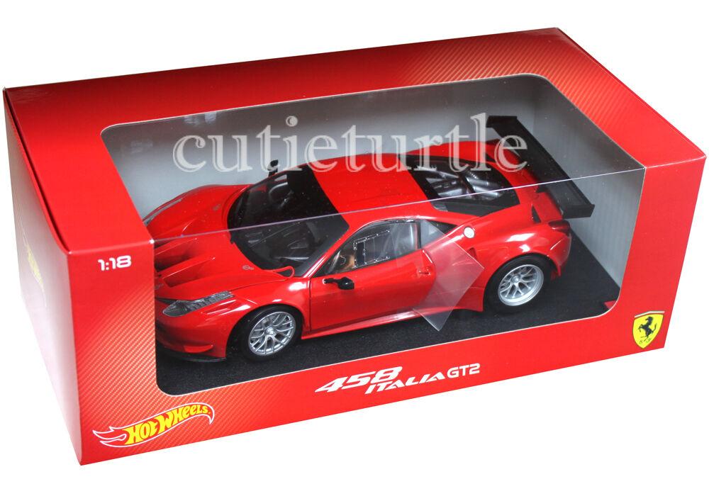 Hot Wheels Ferrari 458 Italia GT2 1 18 Diecast Modelo Coche Rosso Corsa rosso BCJ77