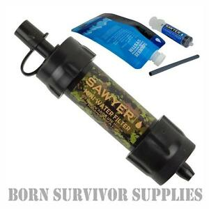 NEW-SAWYER-MINI-WATER-FILTER-KIT-CAMO-Filtration-Survival-Purification-Straw