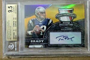 Tom-Brady-AUTO-Patch-Bowman-Gold-not-Rookie-RC-chrome-2000-20-BGS-9-5