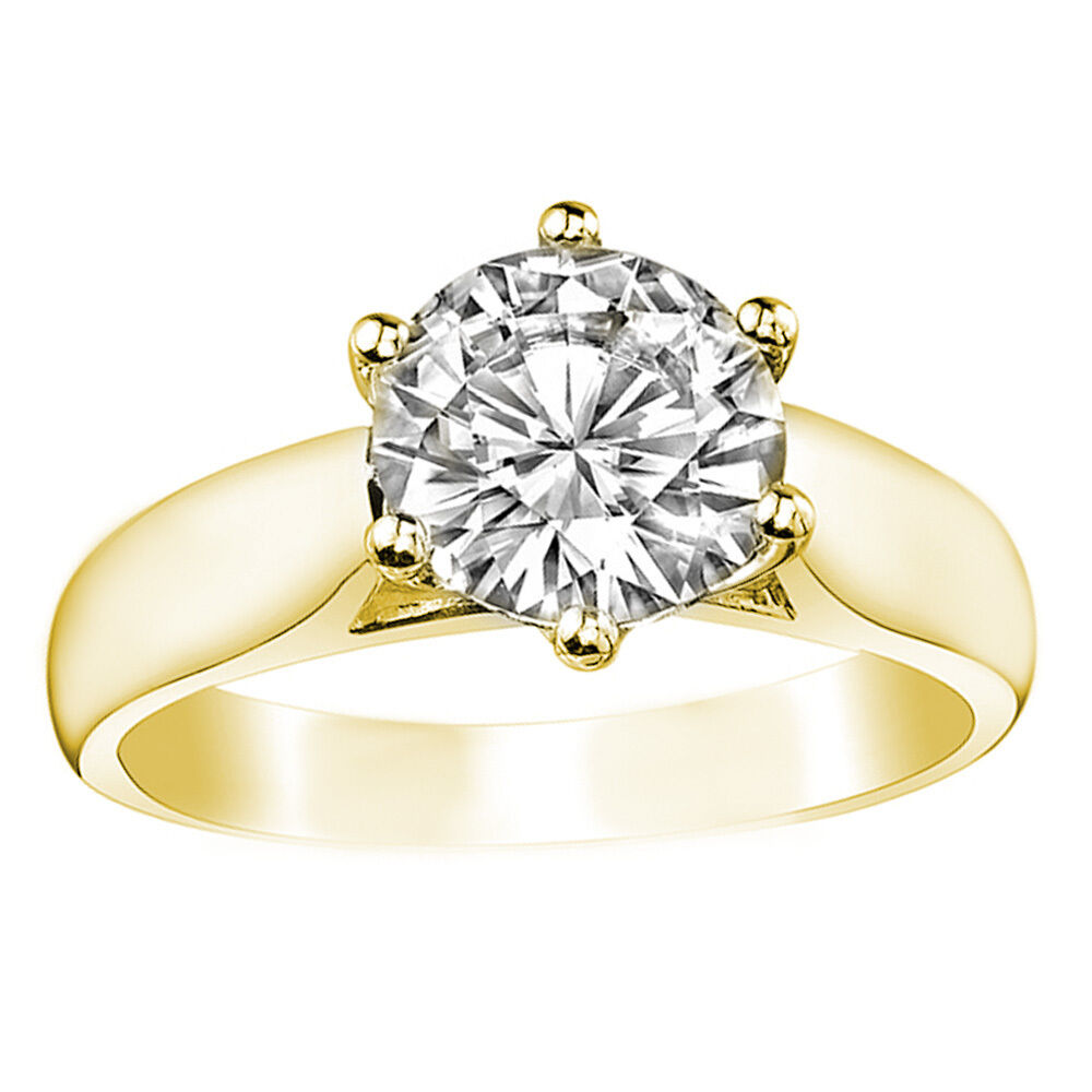 1.00 CT 14k Yellow gold Round Cut Moissanite Trellis Solitaire Engagement Ring