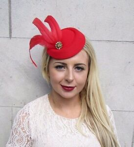 Red Gold Statement Feather Pillbox Hat Hair 1940s Fascinator Races ... b05082f32b3b