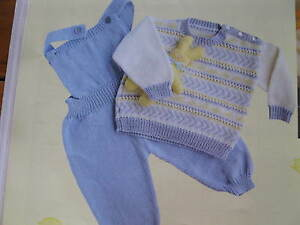 1feb6681a baby knitting pattern fair isle jumper and overalls 4 ply