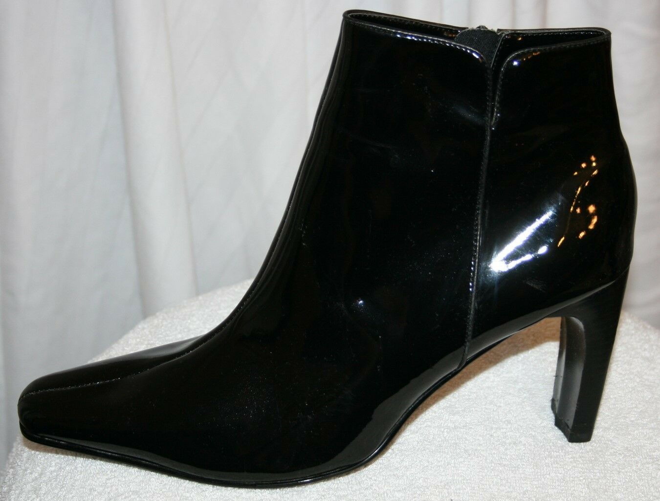 SHINY EYE CANDY ANKLE BOOTIE TOE POINTY TOE BOOTIE HEELS sexy FAUX LEATHER BLACK Stiefel 10 3f2cd2