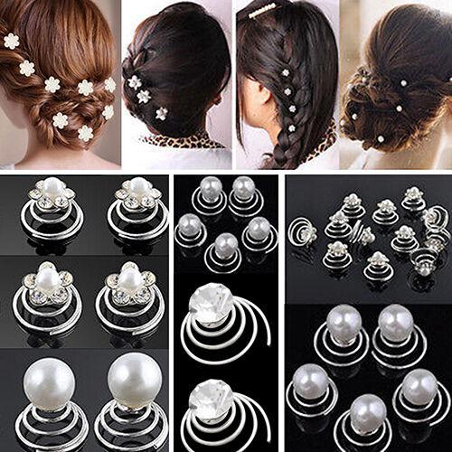 HK 12x Robe de Mariage Épingles à Cheveux Strass Twists Bobine Fleur Tourbillon Spirale Cheveux