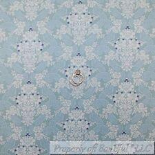 BonEful Fabric Cotton Quilt Light Blue White Rose Flower Paisley Damask NR SCRAP