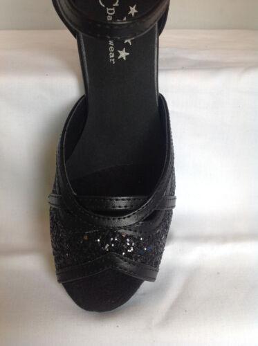 UK Sizes 3-8 Salsa Latin Jive Dance Shoes Ladies Black or Silver Ballroom