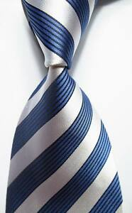 New-Classic-Striped-Blue-White-JACQUARD-WOVEN-100-Silk-Men-039-s-Tie-Necktie