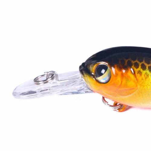 6PCS Lot Crankbait 6cm//5g Minnow Fishing Lure Hook Tackle Hard Bait Wobbler