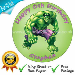 INCREDIBLE HULK ROUND EDIBLE PRINTED BIRTHDAY CAKE TOPPER