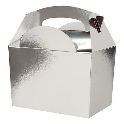 Argent 5 boîtes-cadeaux ~ anniversaire Fête de Noël Snack Déjeuner Repas Nourriture Sac Boîte