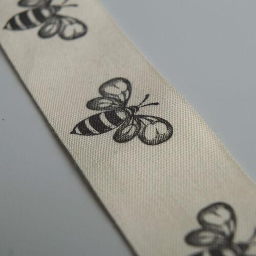 25mm Ancho 100/% algodón 2 metros de cinta de Algodón Crema Con Estampado De Abeja