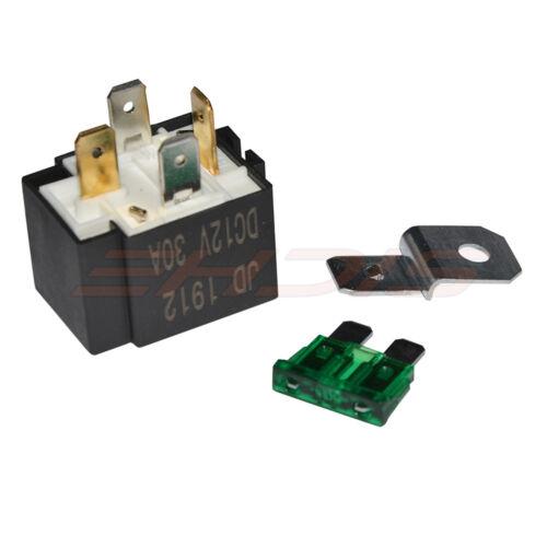 2 x 12V 30A 4 Pin Auto Sicherungshalter Relais /& Sockel Mit 4 Drähten SPST NEU