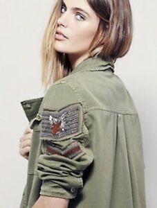 Olive Gratis Xs Ny Militær Sz Army Utility Shirt Udsmykede Jakke Folk T Boho rrYpw