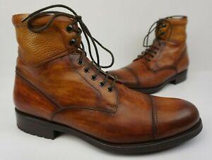8edddf474a2 Details about Magnanni Peyton Cognac Brown Cuero Leather Cap Toe Men's  Boots Size 11.5 M