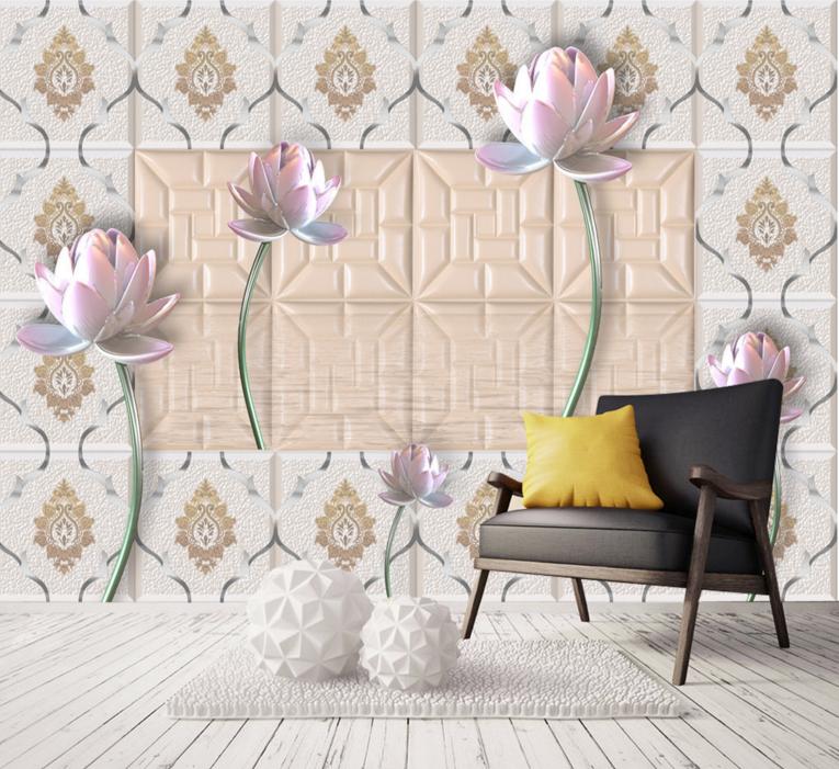 3D Lotus Pattern 889 Wall Paper Murals Wall Print Wall Wallpaper Mural AU Kyra