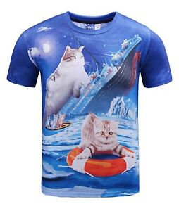 Cat-naufrage-du-Titanic-T-shirt-All-Over-Drole-Grincheux-Mignon-Chat-Chaton-Tee
