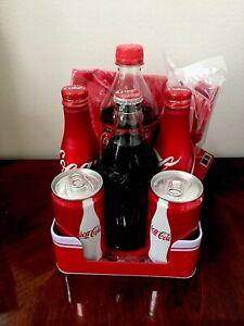 Vtg-Coca-Cola-Tin-Napkin-Holder-Picnic-Pack-With-Assorted-vintage-Bottles