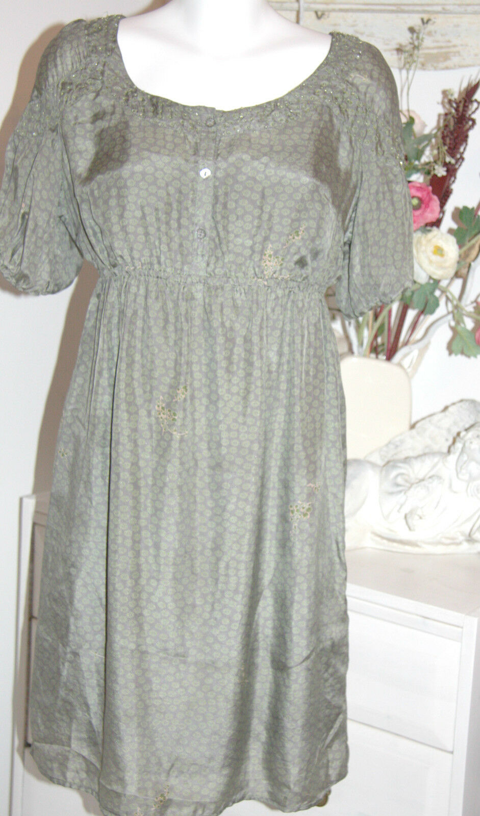 Noa Noa  Kleid  Kurzarm Dress Silk Shibuya silk light cedar  Größe  S Neu