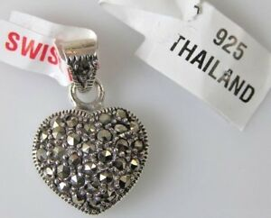 925-Sterling-Silver-Swiss-Marcasite-Valentine-Heart-Pendant-Charm-NEW-23mm-x15mm