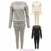 Ladies Cut Out Beaded Jogging Suit Womens Sweatshirt Pants Full Tracksuit