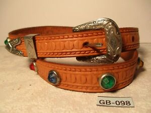 Vintage-Hand-Tooled-Tan-Leather-Western-Belt-with-Coloraed-Sets-Size-30