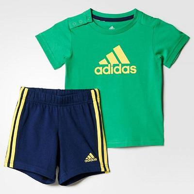 Summer set Ages 0-24M adidas boys baby//infant 3 stripe shorts /& top set