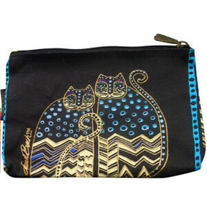 f9425bd07a9 Image is loading Laurel-Burch-Polka-Dot-Cats-Canvas-Cosmetic-Bag-