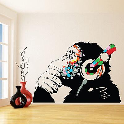 Banksy Vinyl Wall Decal Monkey With Headphones, Chimp Listening Music Sticker