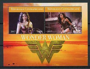 Afrique Centrale Rep 2017 Cto Wonder Woman Gal Gadot 2 V M/s Superhéros Timbres