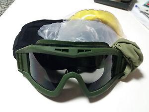 Gafas-tacticas-airsoft-con-3-lentes-y-funda-color-VERDE-OD-militares-Nuevas