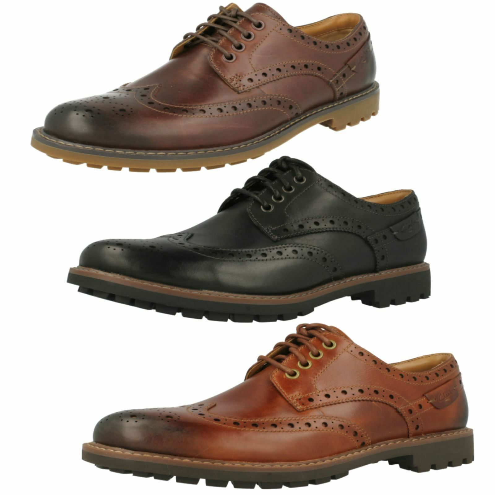Uomo Clarks Montacute Wing Leder Casual G Lace Up Brogue Schuhes G Casual Fitting 8c000c