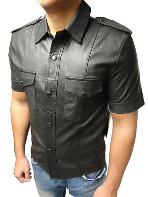 Chemise Lammnappa Cuir lederhemd 2 manches courtes noir taille 2xl