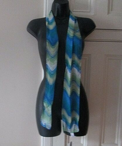 Women Ladies Thin Long Chiffon Retro Wave Neck Tie Scarf Blue Green Ex Bhs
