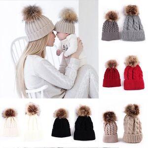 775157129c3 2Pcs Mother Child Baby Warm Winter Knit Beanie Fur Ball Pom Hat ...