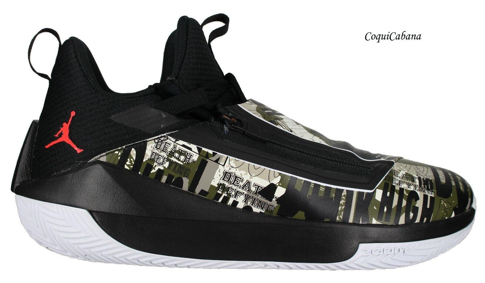 Nike Men's  Jordan Jumpman Hustle  Black - Olive Basketball shoes Multiple Size