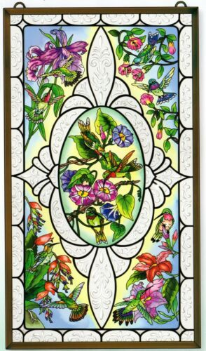 VINTAGE HUMMINGBIRDS* TRUMPET FLOWERS SCROLL 13x23 STAINED GLASS PANEL