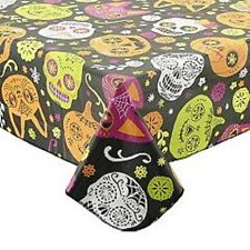 Celebrate Halloween Vinyl Tablecloth ~ Skulls Pumpkins Cats 60 X 84 Oblong