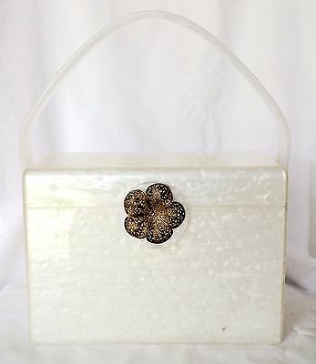 Vintage 50's Wilardy White Lucite Box Purse - Has a crack - Selling for Parts