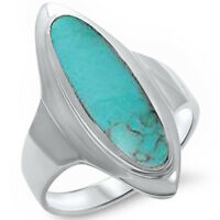 Green Turquoise .925 Sterling Silver Ring Sizes 5-12