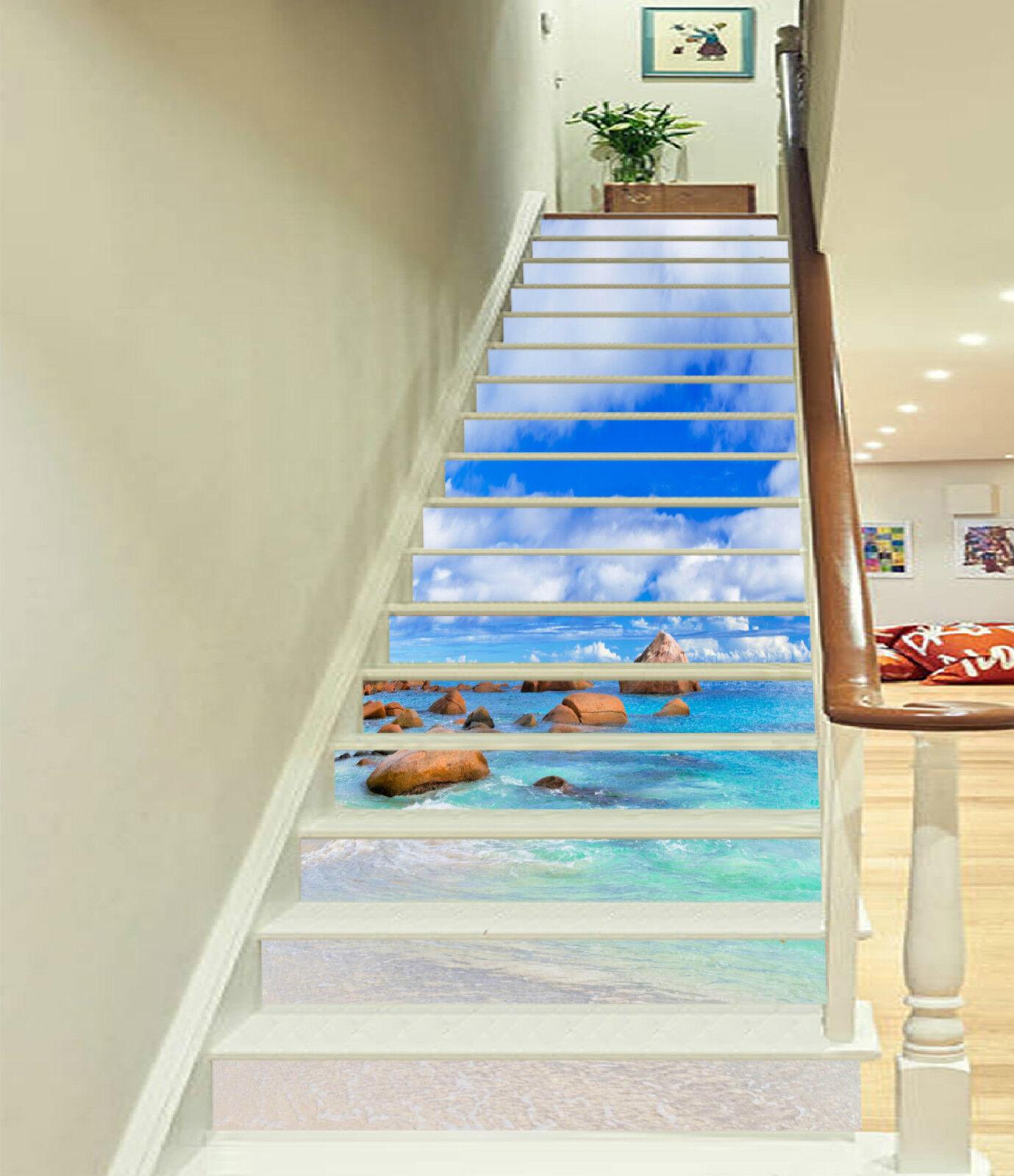 3D Strand Ansicht 3 Stair Risers Dekoration Fototapete Vinyl Aufkleber Tapete DE