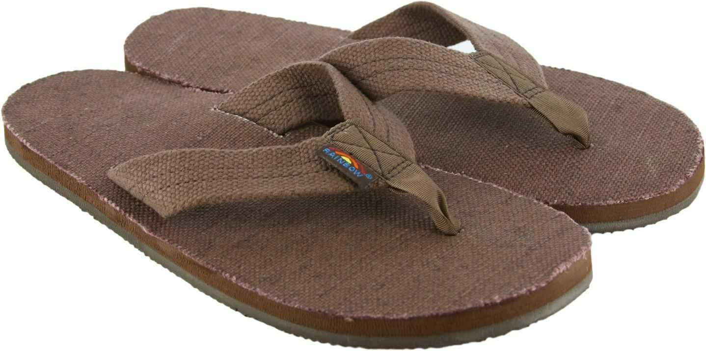 Rainbow Mens Sandals Single Layer Hemp Brown Size XL (11-12)